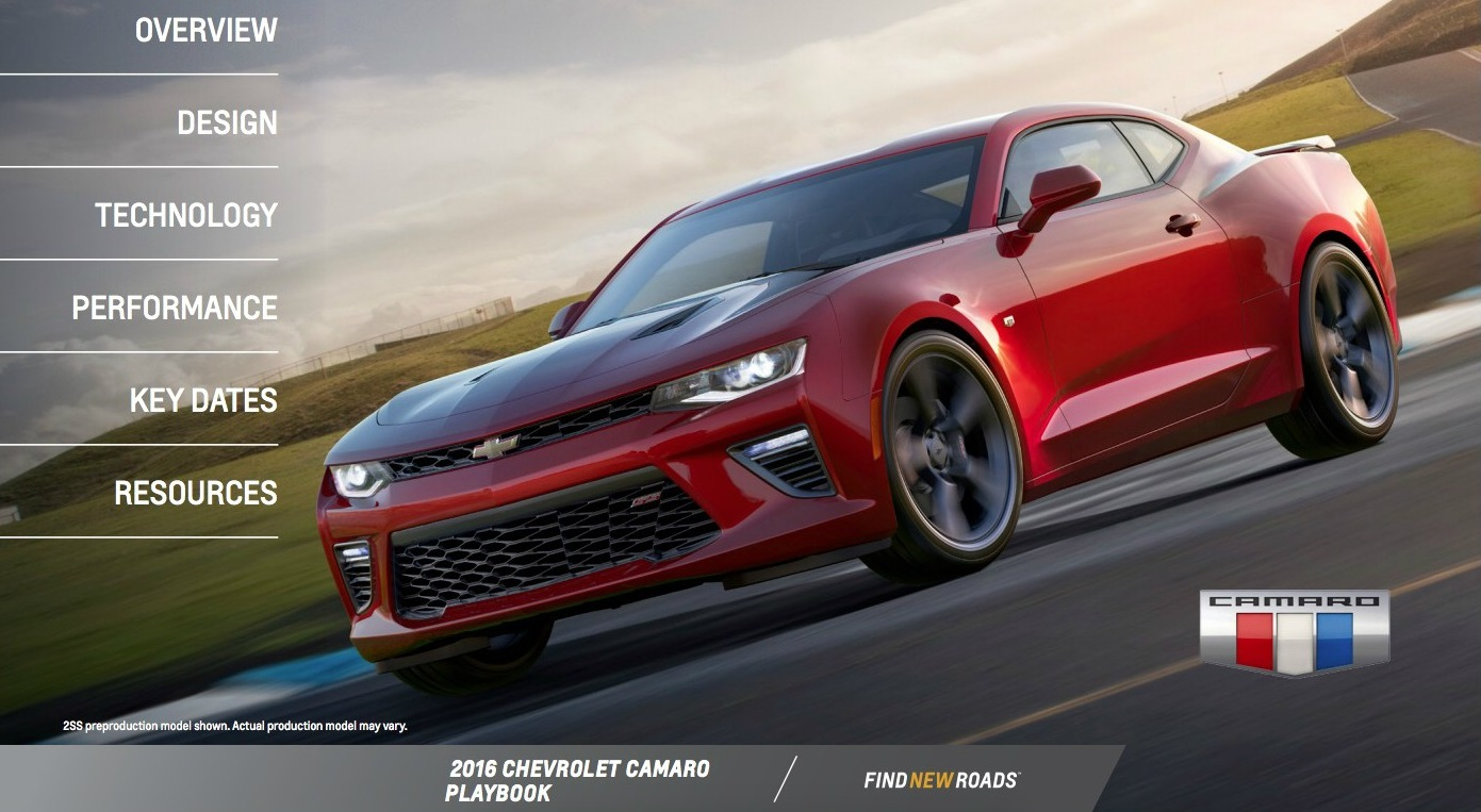 2016 Chevrolet Camaro PlayBook, 15 страниц «вкусностей»