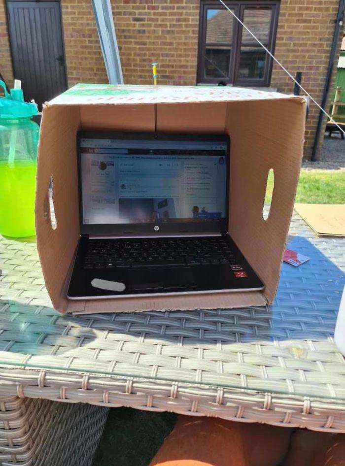Пользователи Сети оценили забавный лайфхак, защищающий ноутбук от солнца